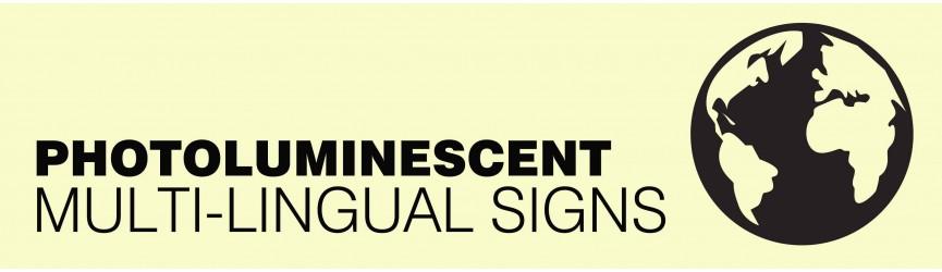 Photoluminescent Multi-Lingual Signs