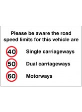 Please be Aware the Road Speed Limits for this Vehicle Are 40 - 50 - 60mph