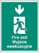 Fire Exit Arrow - Down (English/polish)