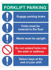 Forklift Parking Engage Brakes - Lower Forks - Return Keys
