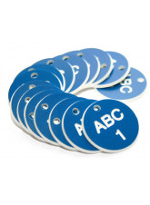 Engraved Valve Tags - Blue with White Text