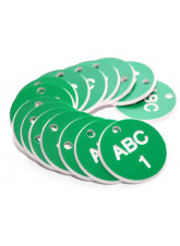 Engraved Valve Tags - Green with White Text