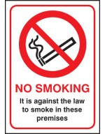 No Smoking it is against the law A5 SAV