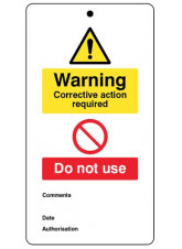 Warning corrective action required.. double sided safety tags 80x150mm c/w cable ties (pack of 10)
