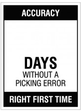 "Small Wipe Clean Board ""Accuracy (Write Number) Days without a Picking Error"""