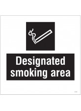 Designated Smoking Area - Site Saver Sign - 400 x 400mm