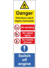 Petroleum Spirit Highly Flammable (Multi-Message) 200 x 600mm
