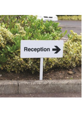 Reception Right - White Powder Coated Aluminium 450 x 150mm (800mm Post)