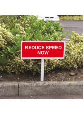 Reduce Speed Now - White Powder Coated Aluminium - 450 x 150mm (800mm Post)