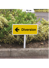 Diversion Left - White Powder Coated Aluminium - 450 x 150mm (800mm Post)