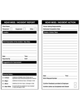 Near Miss Double Sided Report / Action Safety Tags