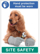 Hand protection must be worn - dog poster 420x594mm synthetic paper