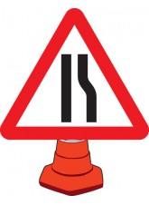 Road Narrowing Right - Cone Sign - 750mm