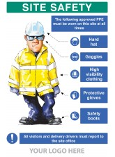 PPE Requirement Sign (Hat -Goggles -Hivis -Gloves -Boots)