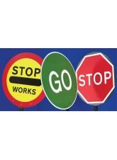 Stop/Go Lollipop Sign 600mm Dia - 1500mm Pole