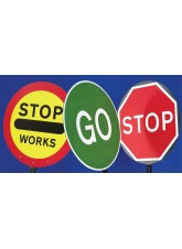 Stop Works Lollipop Sign 450mm Dia - 1500mm Pole