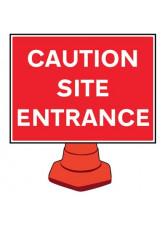 Reflective Cone Sign - Caution site entrance
