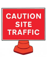 Reflective Cone Sign - Caution Site Traffic