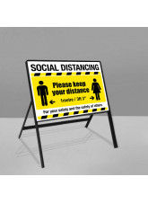 Social Distancing Road Frame Sign - 1m / 2m / Generic Distance Options