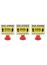 Social Distancing Cone Sign - 1m / 2m / Generic Distance Options