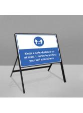 Mandatory Social Road Frame Sign - 1m / 2m / Generic Distance Options