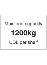 Max load capacity 1200kg UDL per shelf