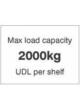 Max load capacity 2000kg UDL per shelf