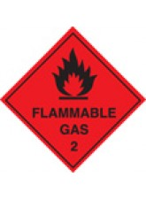 Roll of 100 Flammable Gas 2 Labels - 100 x 100mm