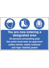 Entering Designated Area Must Wear Helmet - Footwear & Jacket