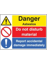 Danger Asbestos Do Not Disturb Material Report Damage