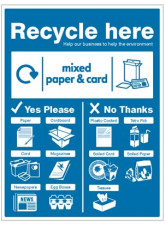 Paper & Cardboard - WRAP Recycle Here Sign